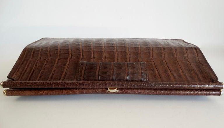 Donna Karan 1980s Caiman Crocodile Clutch For Sale 3