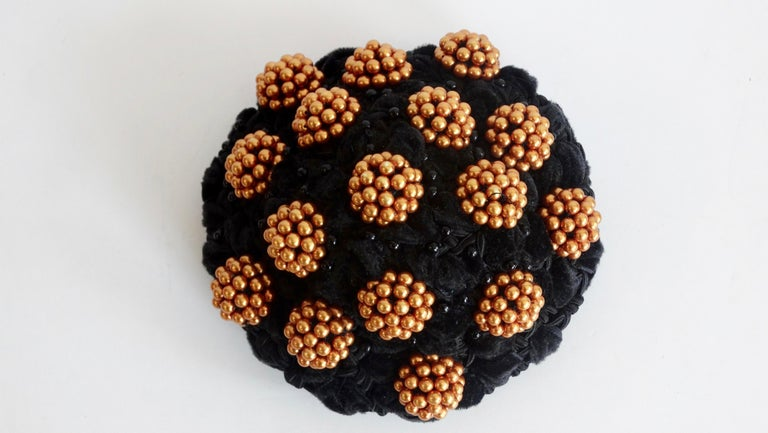 1980s rare Isabel Canovas Beaded Cluster Bun Cover  In Good Condition For Sale In Scottsdale, AZ