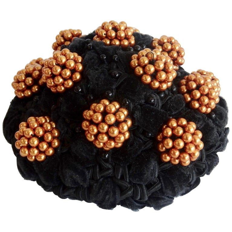 1980s rare Isabel Canovas Beaded Cluster Bun Cover  For Sale