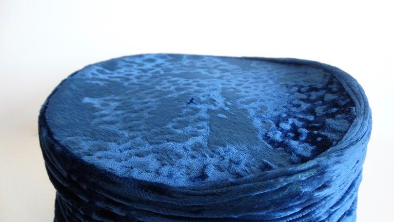 1980s rare Isabel Canovas Blue Velvet Asymmetrical Hat  For Sale 1