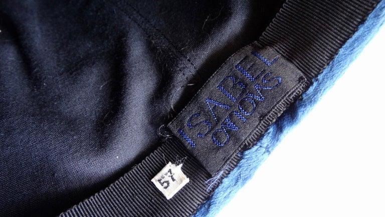 1980s rare Isabel Canovas Blue Velvet Asymmetrical Hat  For Sale 2