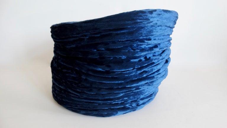 1980s rare Isabel Canovas Blue Velvet Asymmetrical Hat  For Sale 3