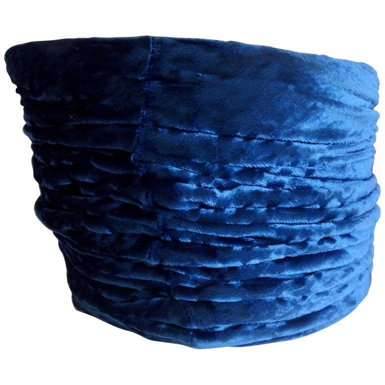 1980s rare Isabel Canovas Blue Velvet Asymmetrical Hat  For Sale