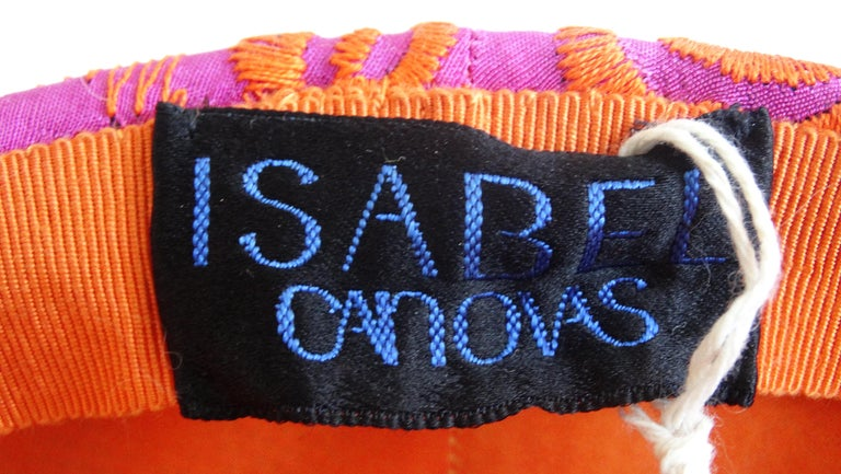 1980s rare Isabel Canovas Embroidered Fascinator Hat  In Good Condition For Sale In Scottsdale, AZ