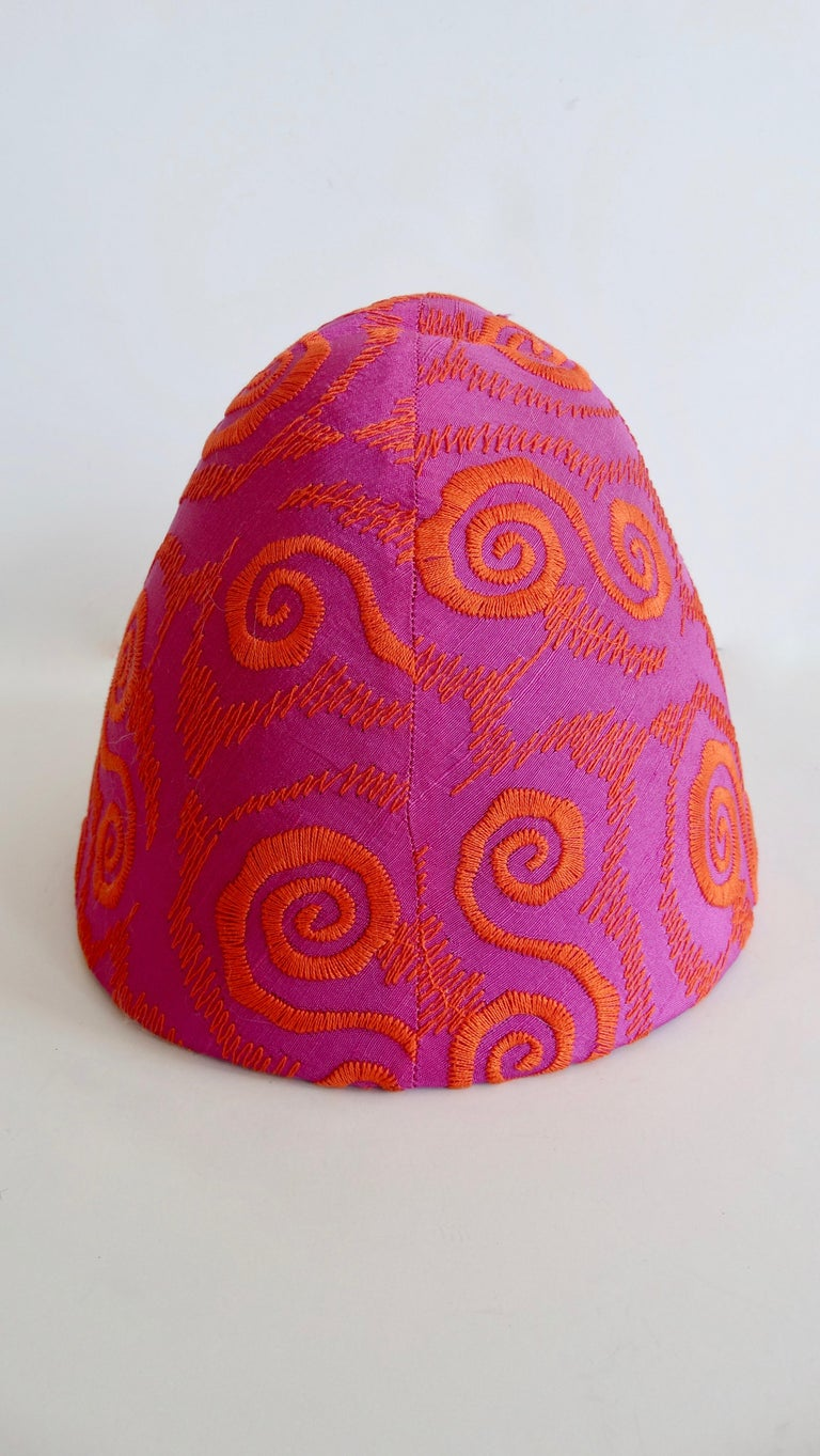 1980s rare Isabel Canovas Embroidered Fascinator Hat  For Sale 1