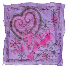 1980s Rare Zandra Rhodes Violet Hand Painted Silk Hanky