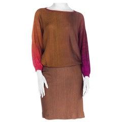 1980S Rayon Knit Ombre Dolman Sweater & Elasticated Waist Skirt Ensemble