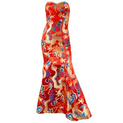 1980s Red Custom Made Gown with Dragon Motif