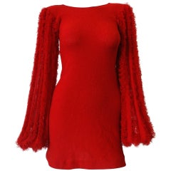 1980s Red Knit Mini Dress With Dramatic Sleeves