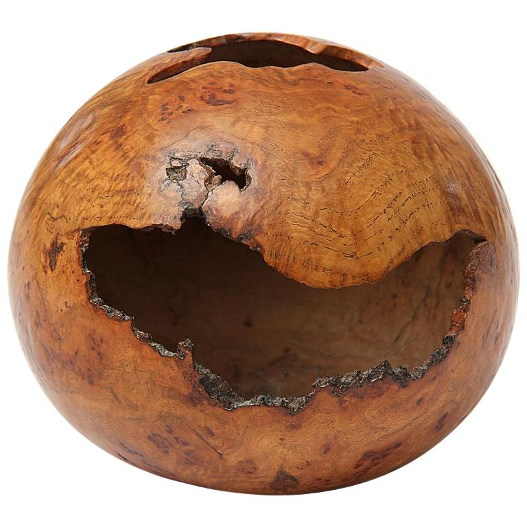 1980s Red Oak Burl Hollow Form Vessel by David Ellsworth For Sale