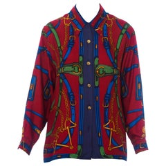 1980S Red Status Print Silk Equestrian Blouse Made In Italy