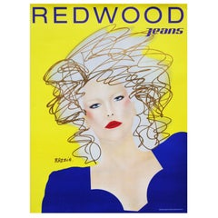 "1980s ""Redwood Jeans"" Poster by Razzia Pop Art Fashion Illustration"
