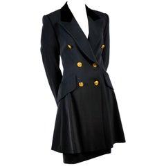 Rena Lange Vintage Jacket and Skirt Suit in Gray Wool Silk Blend, 1980s