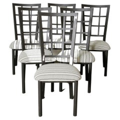 1980s Reupholstered Checkered Dining Chair Set of 6