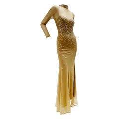 1980s Rhinestone Embellished Body-Conscious Nude Net Showgirl Gown