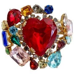 1980s Rhinestone Embellished Heart Cuff