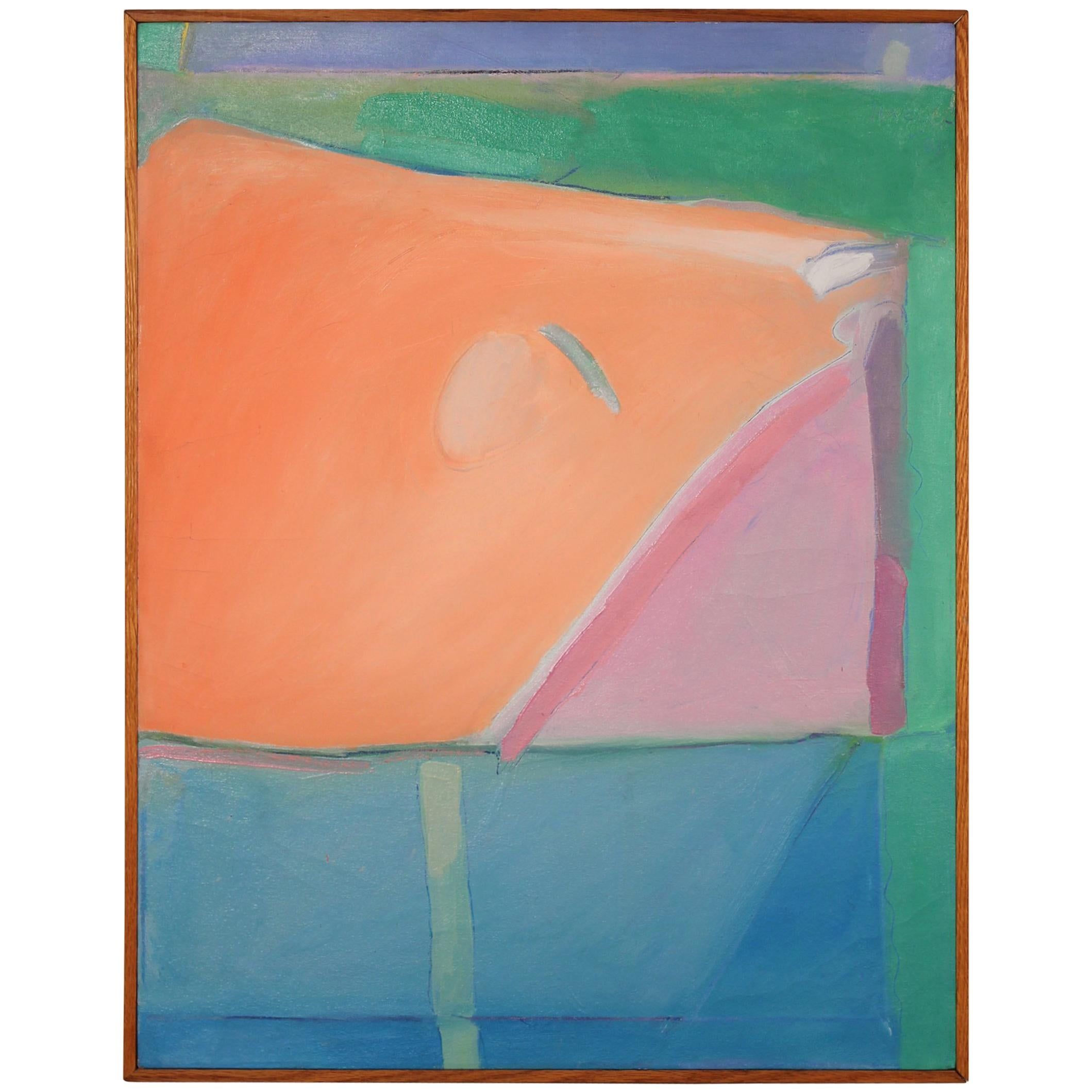 1980s Richard Diebenkorn Style Abstract Expressionism Painting