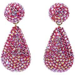 1980's Richard Kerr Hot Pink Pave Crystal Teardrop Earrings