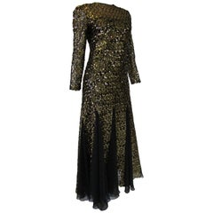 1980s Richilene Black and Gold Sequined Evening Dress