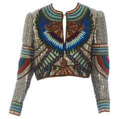 1980S RICHILENE Blue & Gold Silk Evening Jacket Entirely Beaded Embroidered Wit