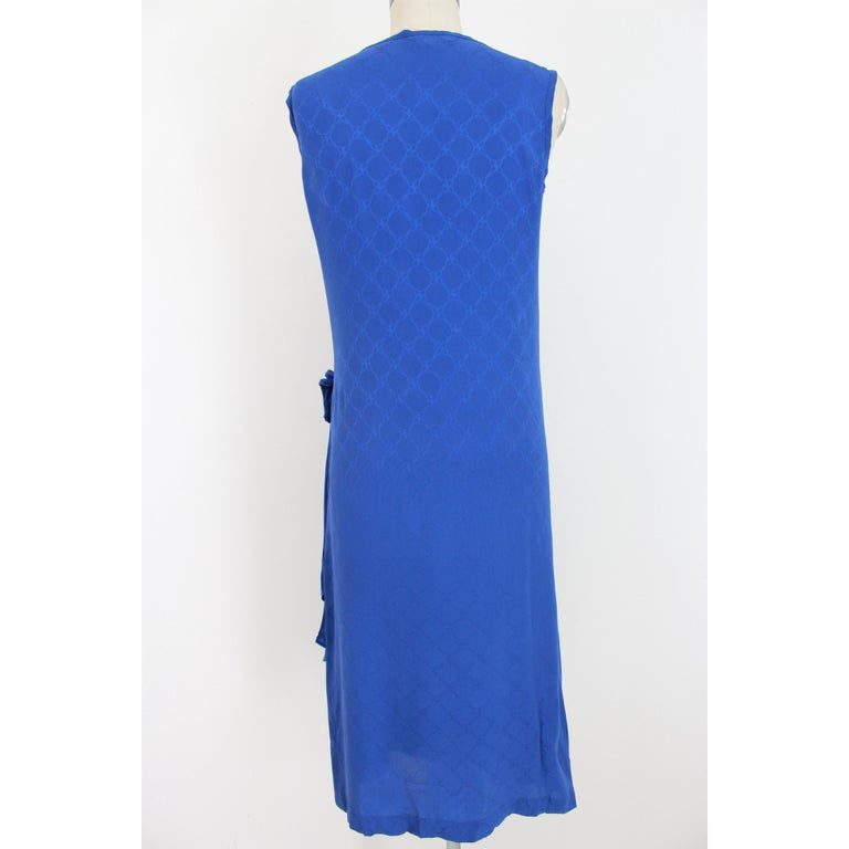1980s Roberta Di Camerino Blue Silk Long Sheath Dress Wallet Skirt In Excellent Condition For Sale In Brindisi, Bt