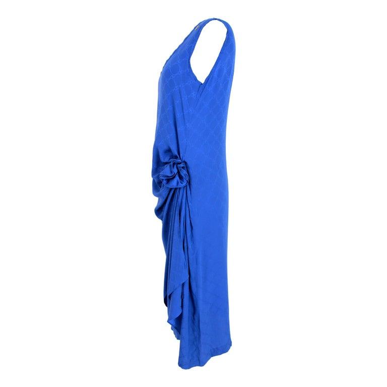 Women's 1980s Roberta Di Camerino Blue Silk Long Sheath Dress Wallet Skirt For Sale