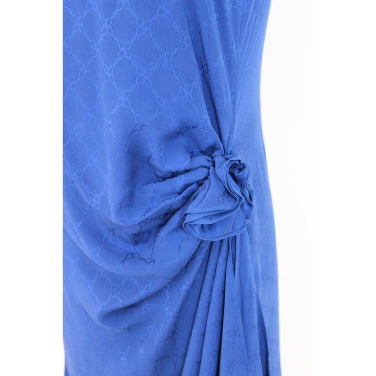 1980s Roberta Di Camerino Blue Silk Long Sheath Dress Wallet Skirt For Sale 1