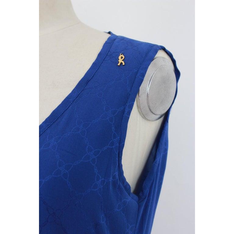 1980s Roberta Di Camerino Blue Silk Long Sheath Dress Wallet Skirt For Sale 2