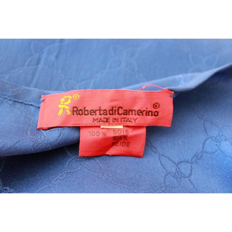 1980s Roberta Di Camerino Blue Silk Long Sheath Dress Wallet Skirt For Sale 3