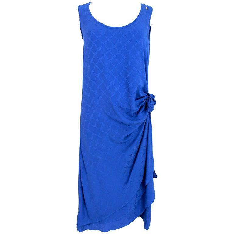 1980s Roberta Di Camerino Blue Silk Long Sheath Dress Wallet Skirt For Sale