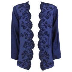 1980s Roberto Capucci Blue Linen Beaded Jacket