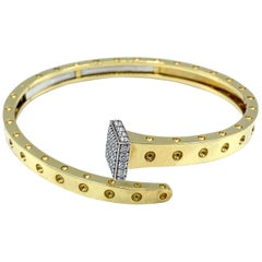 1980's Roberto Coin Yellow Gold and Diamond Nail Bangle Bracelet