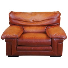 1980s Roche Bobois Modern Burnt Orange Leather Club Lounge Arm Chair MCM