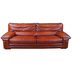1980s Roche Bobois Modern Burnt Orange Leather Lounge Sofa Couch MCM