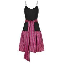 1980s Roland Klein Black Jersey and Striped Satin Dress