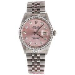 1980s Rolex Datejust with 2.5 Carat Custom Diamond Bezel and Dial