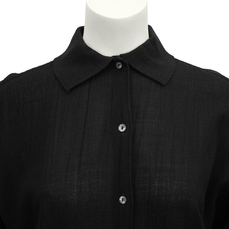 1980s Romeo Gigli Black Shirt and Skirt Ensemble  For Sale 1