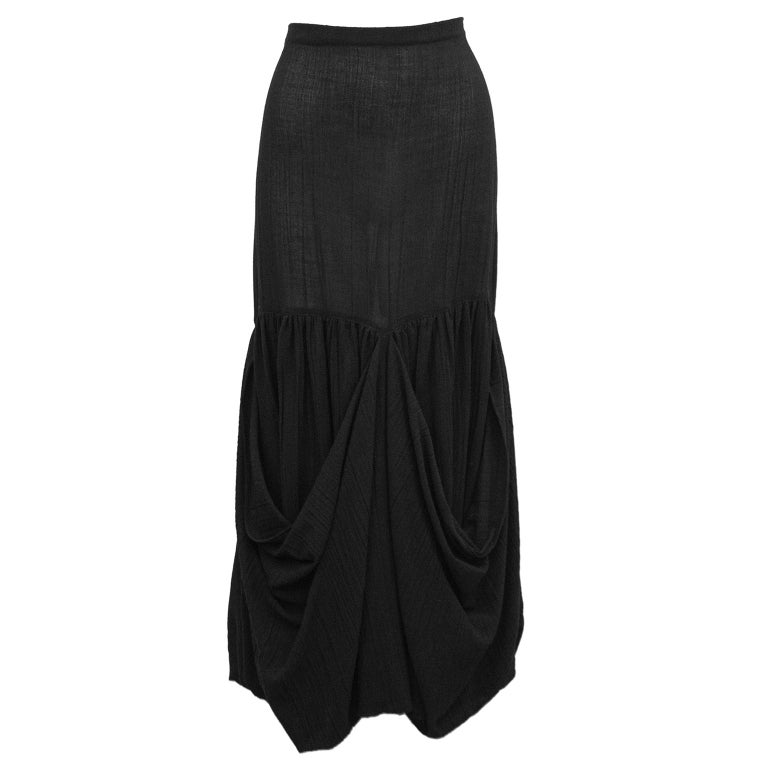 1980s Romeo Gigli Black Shirt and Skirt Ensemble  For Sale 2