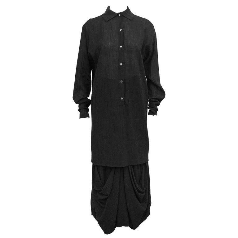 1980s Romeo Gigli Black Shirt and Skirt Ensemble  For Sale