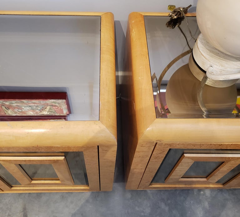 Late 20th Century 1980s RomWeber Patterened Maple Mirror Nightstands