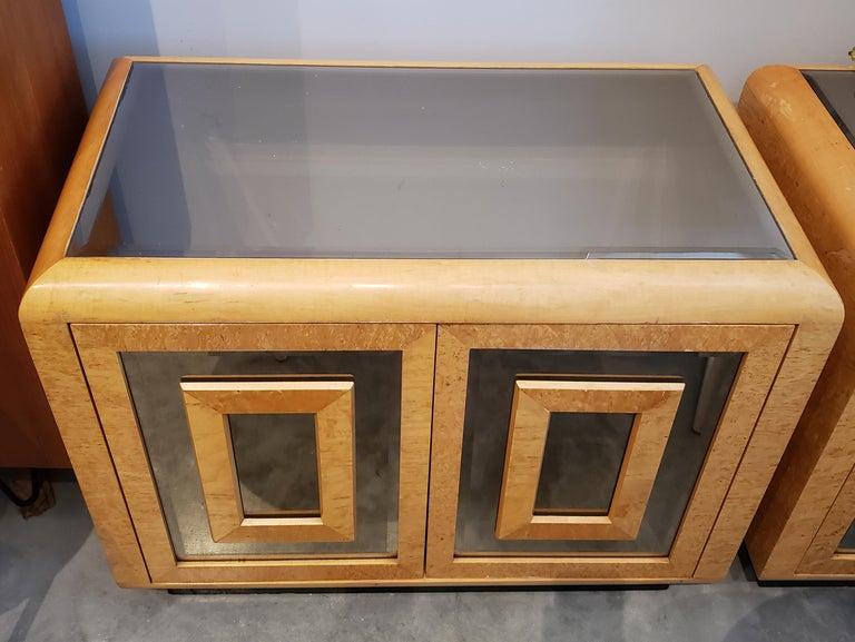 1980s RomWeber Patterened Maple Mirror Nightstands 1