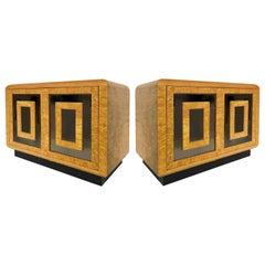 1980s RomWeber Patterened Maple Mirror Nightstands