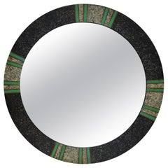 1980s Round Tessellated and Painted Wood Mirror Green and Gray