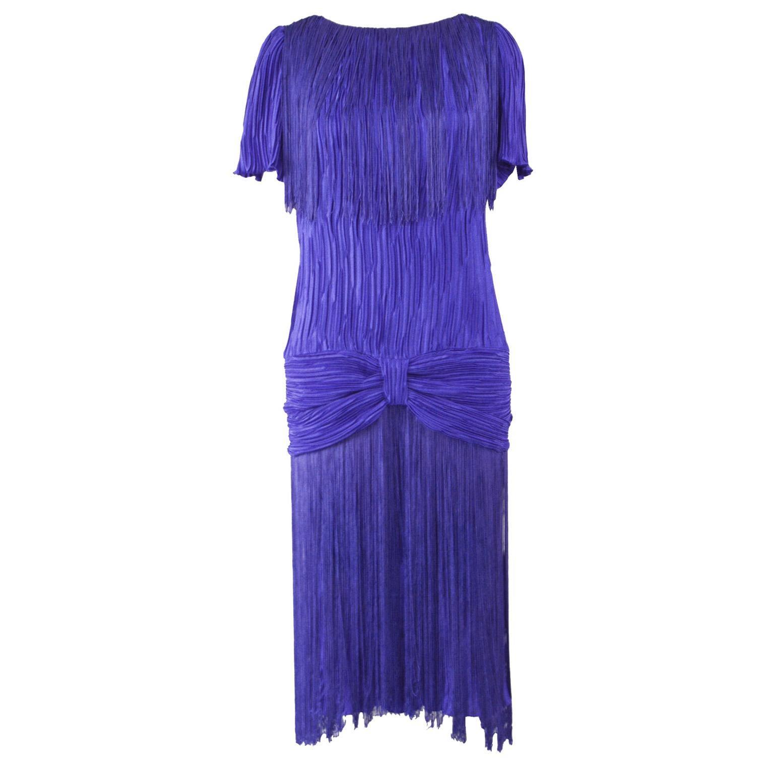1980s Royal Blue Vintage Pleated & Fringed Dress