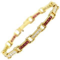 1980s Ruby and Diamond Links Braceclet