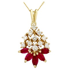 1980s Ruby and Diamond Yellow Gold Pendant