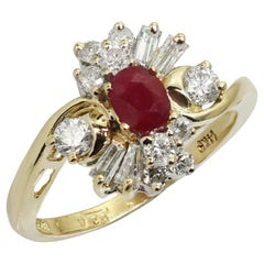 1980s Ruby Diamond Yellow Gold Ring