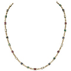 1980s Ruby, Sapphire, Emerald and Pearl Open Link Gold Chain Necklace