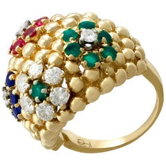 1980s Ruby Sapphire Emerald Diamond Yellow Gold Cocktail Ring