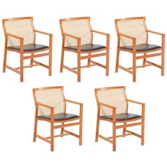 1980s Rud Thygesen and Johnny Sorensen Set of Five King Series Cherry Armchairs